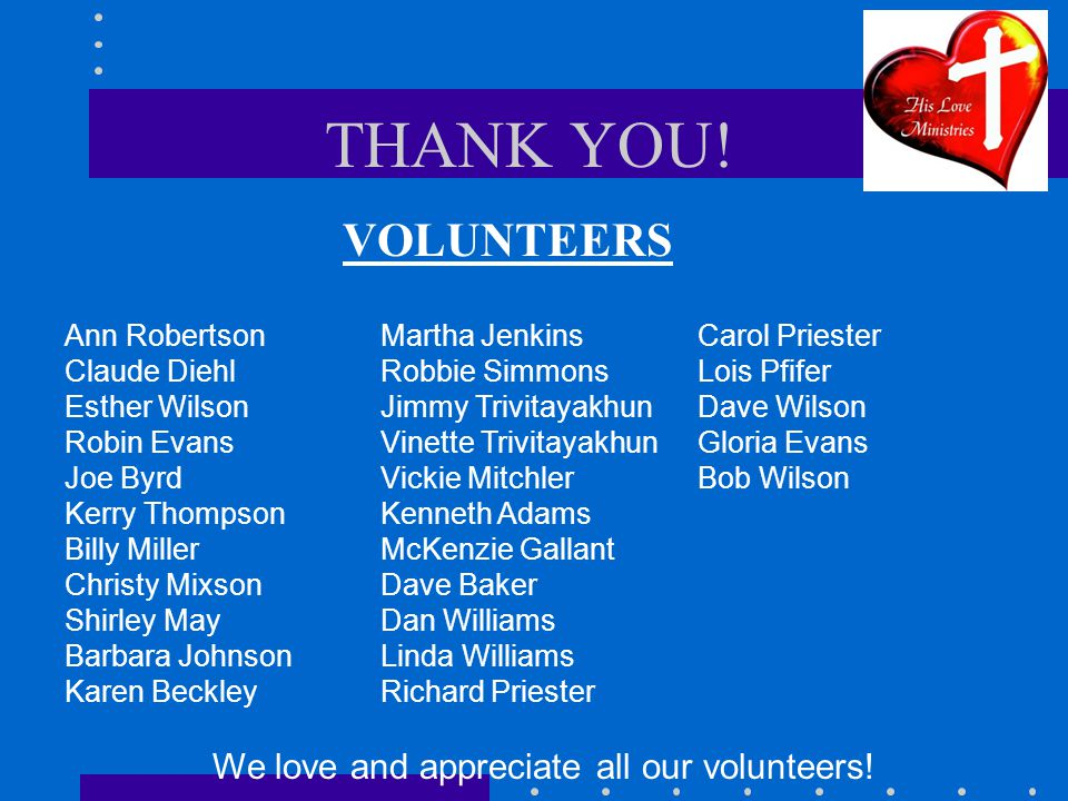 THANK YOU! VOLUNTEERS Ann Robertson Claude Diehl Esther Wilson Robin Evans Joe Byrd Kerry Thompson Billy Miller Christy Mixson Shirley May Barbara Joh