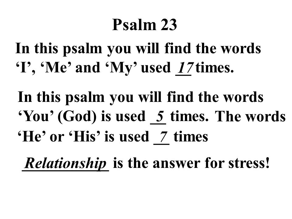 ___________ is the answer for stress! 'He' or 'His' is used __ times The words Psalm 23 In this psalm you will find the words 'I', 'Me' and 'My' used