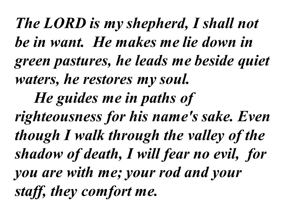 The LORD is my shepherd, I shall not be in want.