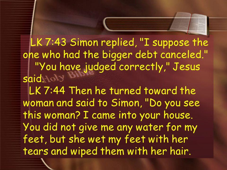 7 LK 7:43 Simon replied,