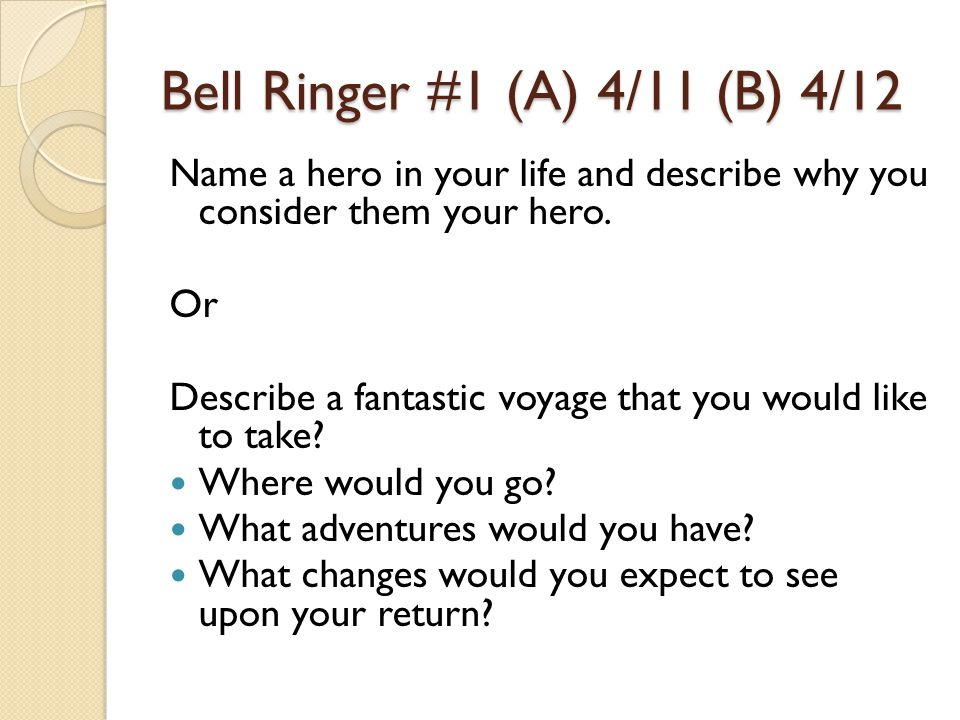 Bell Ringer #1 (A) 4/11 (B) 4/12 Name a hero in your life and describe why you consider them your hero. Or Describe a fantastic voyage that you would
