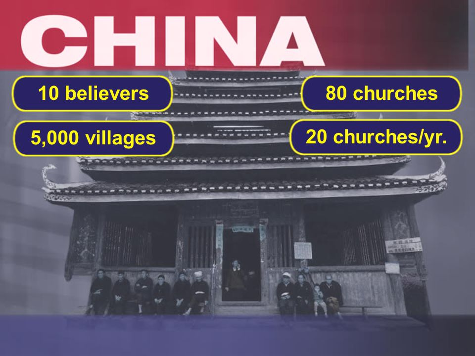 20 churches/yr. 80 churches 5,000 villages 10 believers