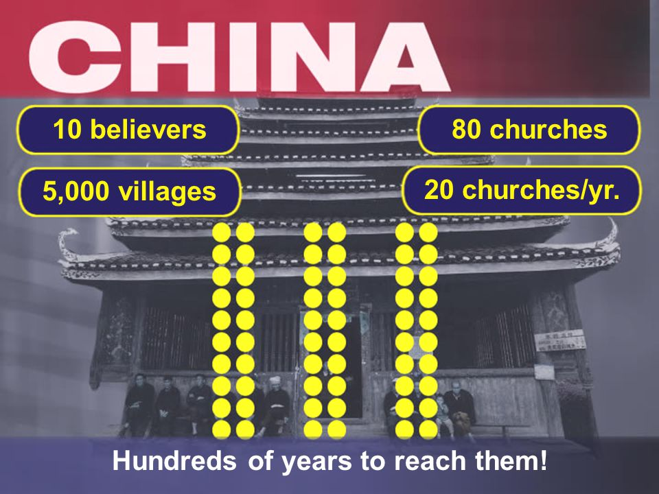 20 churches/yr. 80 churches 5,000 villages 10 believers Hundreds of years to reach them!
