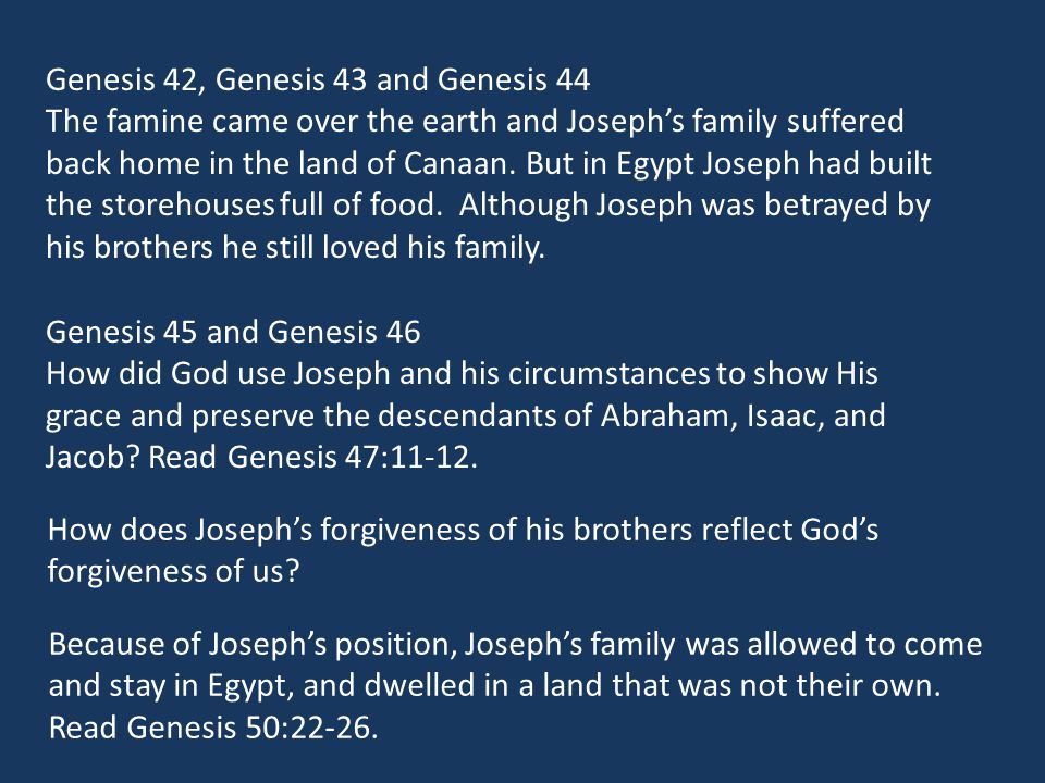 How does Joseph's forgiveness of his brothers reflect God's forgiveness of us.