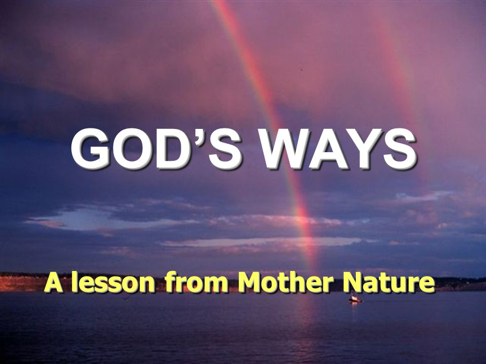 GOD'S WAYS A lesson from Mother Nature A lesson from Mother Nature
