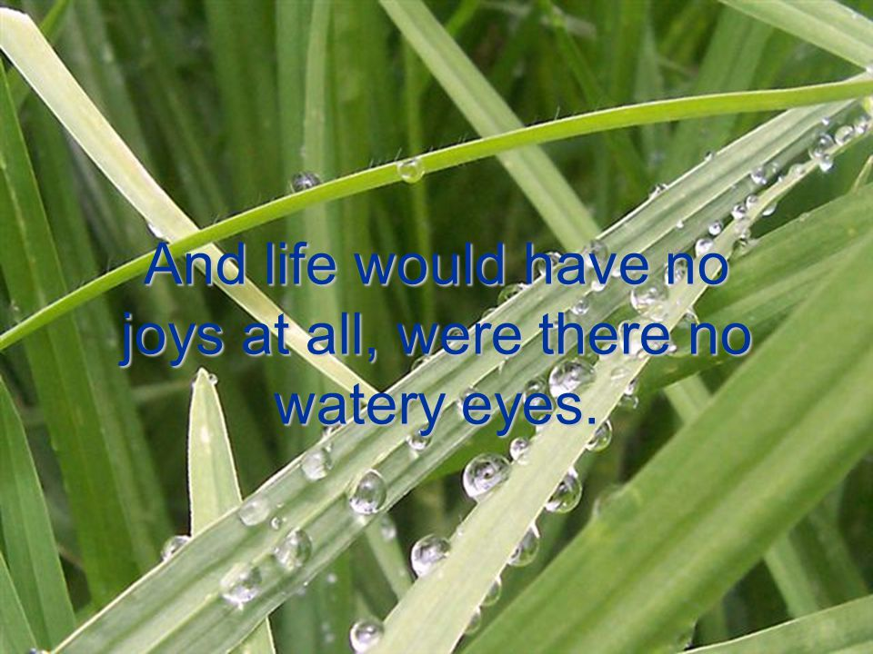 And life would have no joys at all, were there no watery eyes.