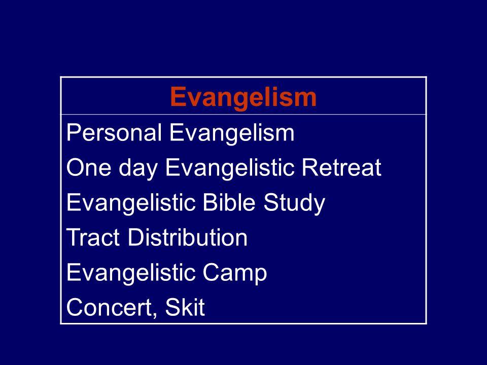 Evangelism Personal Evangelism One day Evangelistic Retreat Evangelistic Bible Study Tract Distribution Evangelistic Camp Concert, Skit