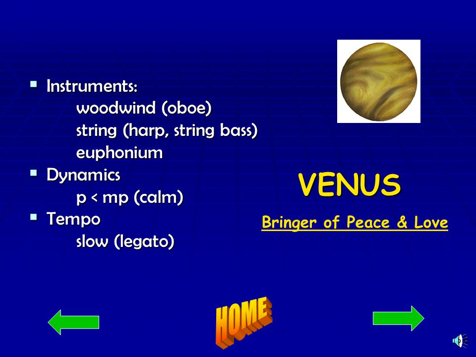 NEPTUNE God of the Sea God of the Sea God of the Sea Instrument: Instrument:woodwinds strings (harp) human voices Dynamics: Dynamics: p < mp Tempo: Tempo:slow Acknowledgements