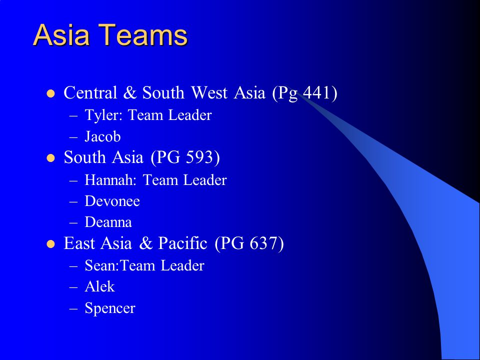 Asia Teams Central & South West Asia (Pg 441) –Tyler: Team Leader –Jacob South Asia (PG 593) –Hannah: Team Leader –Devonee –Deanna East Asia & Pacific