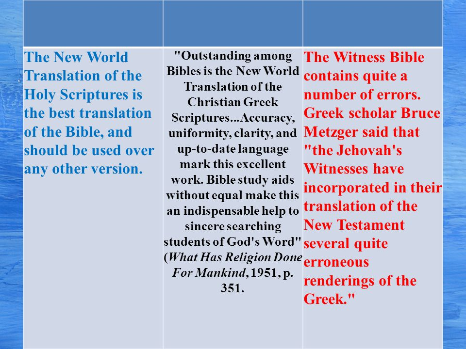 The New World Translation of the Holy Scriptures is the best translation of the Bible, and should be used over any other version.