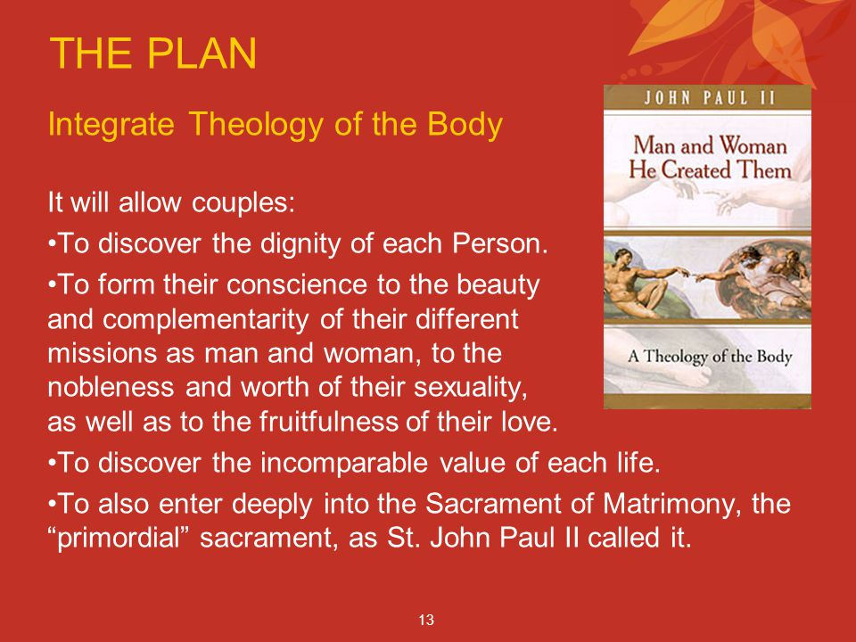 THE PLAN Integrate Theology of the Body It will allow couples: To discover the dignity of each Person.