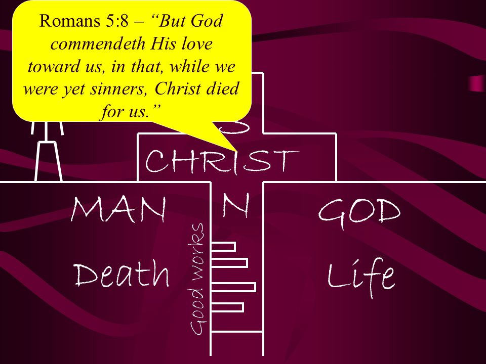 """Romans 5:8 – """"But God commendeth His love toward us, in that, while we were yet sinners, Christ died for us."""""""