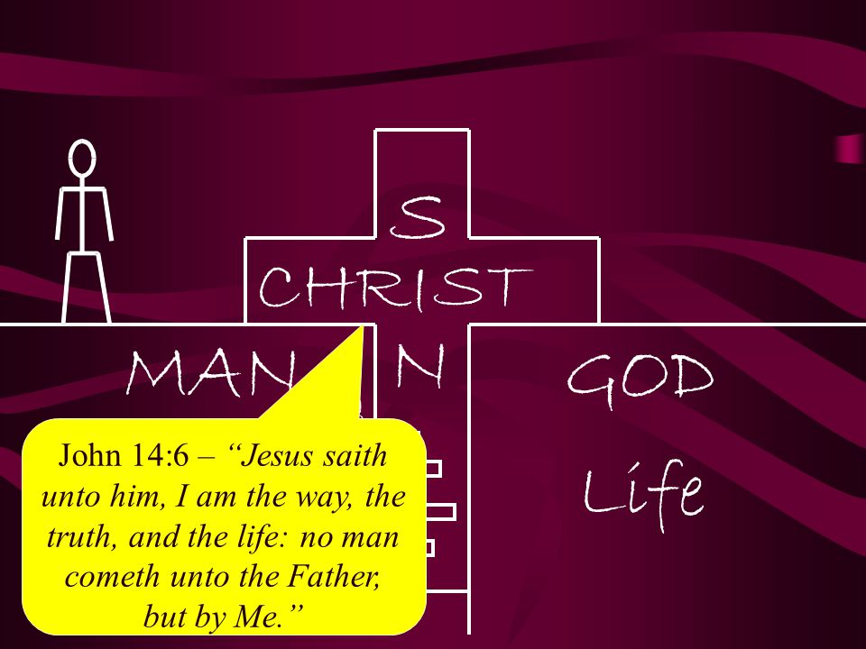 """John 14:6 – """"Jesus saith unto him, I am the way, the truth, and the life: no man cometh unto the Father, but by Me."""""""