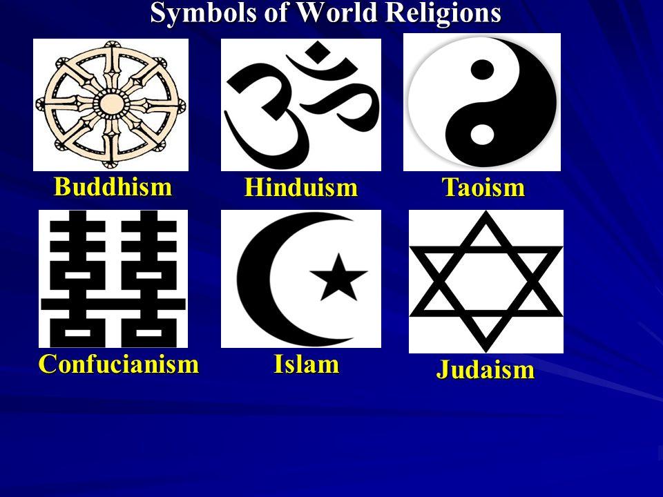 Symbols of World Religions Buddhism HinduismTaoism ConfucianismIslam Judaism