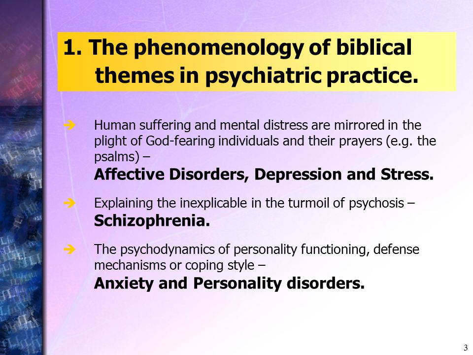 3 1. The phenomenology of biblical themes in psychiatric practice.