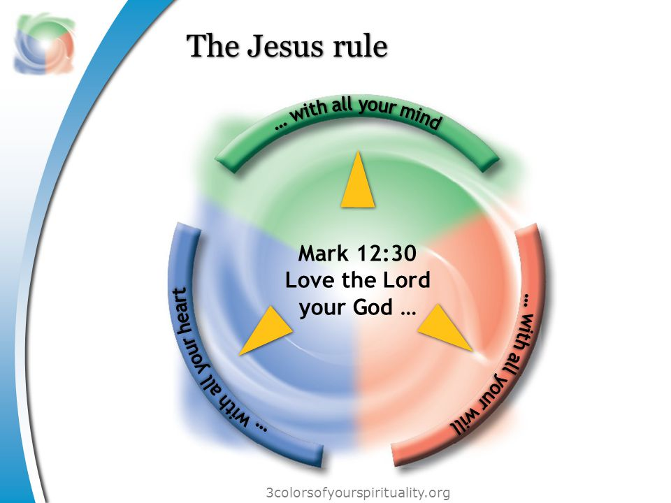 3colorsofyourspirituality.org The Jesus rule Mark 12:30 Love the Lord your God …