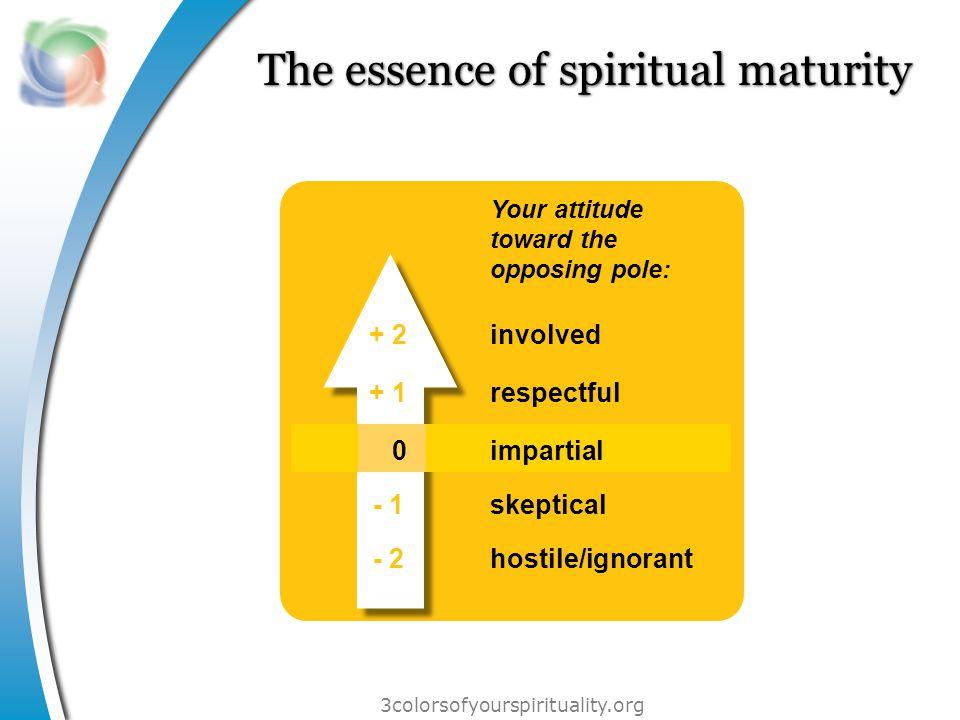 3colorsofyourspirituality.org The essence of spiritual maturity Your attitude toward the opposing pole: involved respectful impartial skeptical hostile/ignorant + 2 + 1 0 - 1 - 2