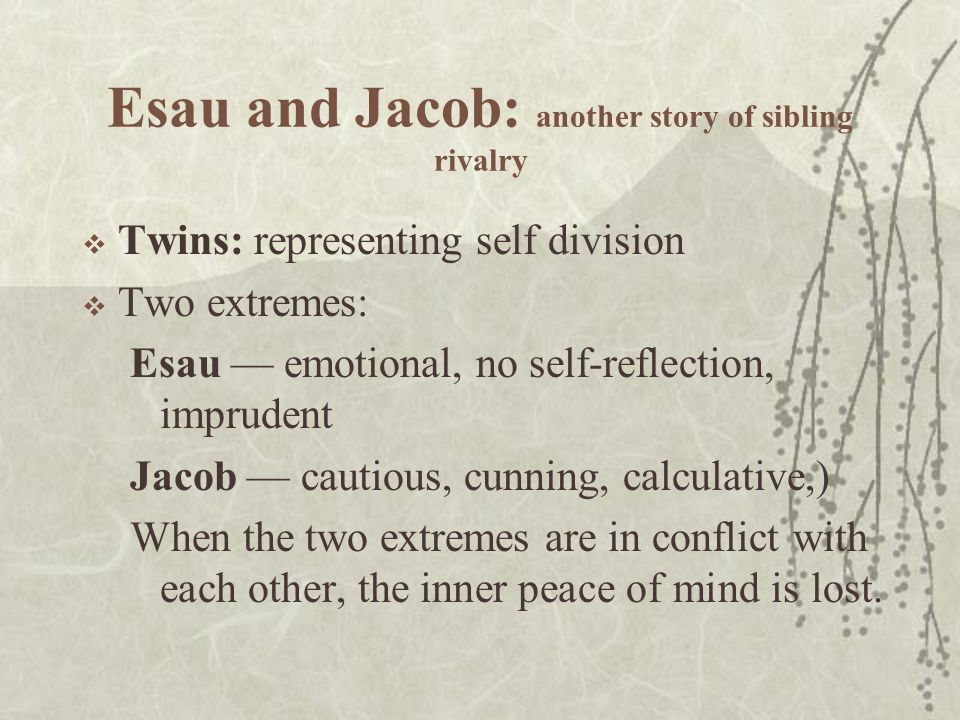 Esau and Jacob: another story of sibling rivalry  Twins: representing self division  Two extremes: Esau — emotional, no self-reflection, imprudent Jacob — cautious, cunning, calculative,) When the two extremes are in conflict with each other, the inner peace of mind is lost.
