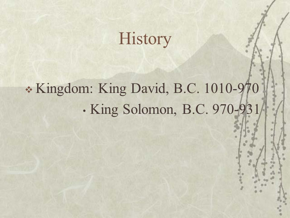 History  Kingdom: King David, B.C. 1010-970 King Solomon, B.C. 970-931