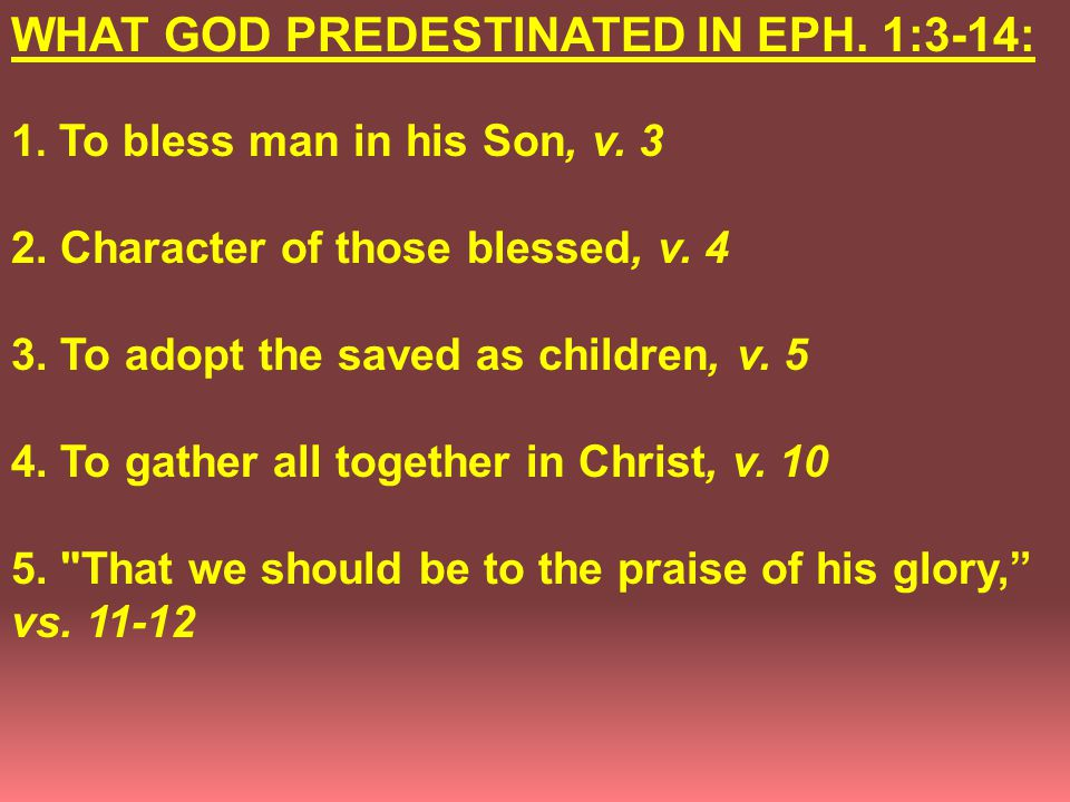 WHAT GOD PREDESTINATED IN EPH. 1:3-14: 1. To bless man in his Son, v.