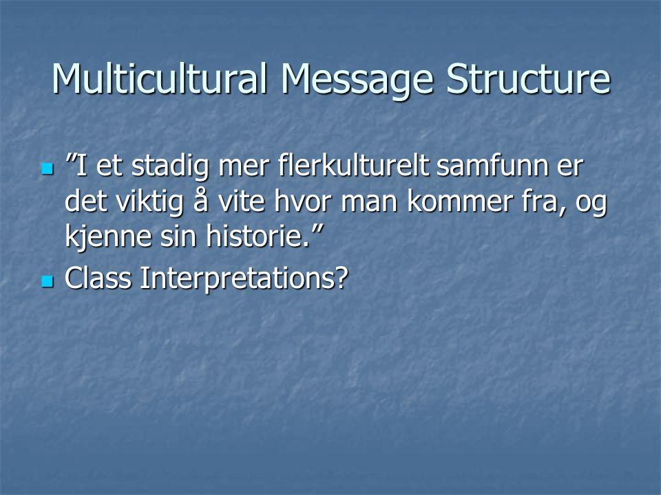 Multicultural Message Structure I et stadig mer flerkulturelt samfunn er det viktig å vite hvor man kommer fra, og kjenne sin historie. I et stadig mer flerkulturelt samfunn er det viktig å vite hvor man kommer fra, og kjenne sin historie. Class Interpretations.