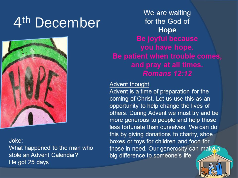 4 th December We are waiting for the God of Hope Be joyful because you have hope.