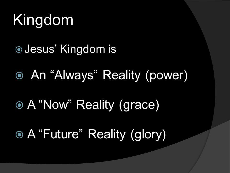 Kingdom  Jesus' Kingdom is  An Always Reality (power)  A Now Reality (grace)  A Future Reality (glory)