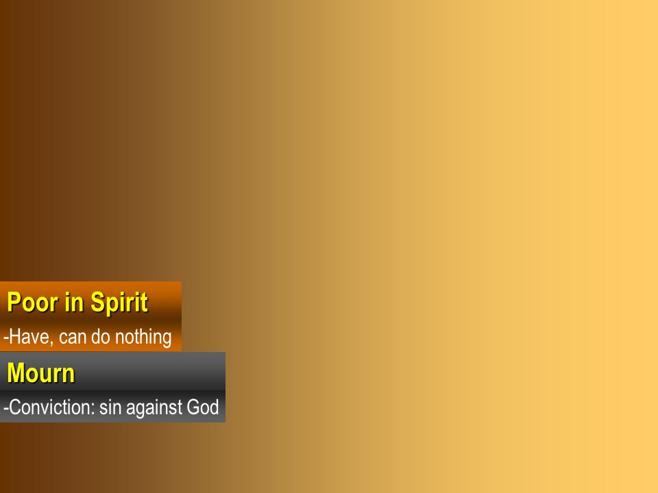 Poor in Spirit Mourn -Have, can do nothing -Conviction: sin against God