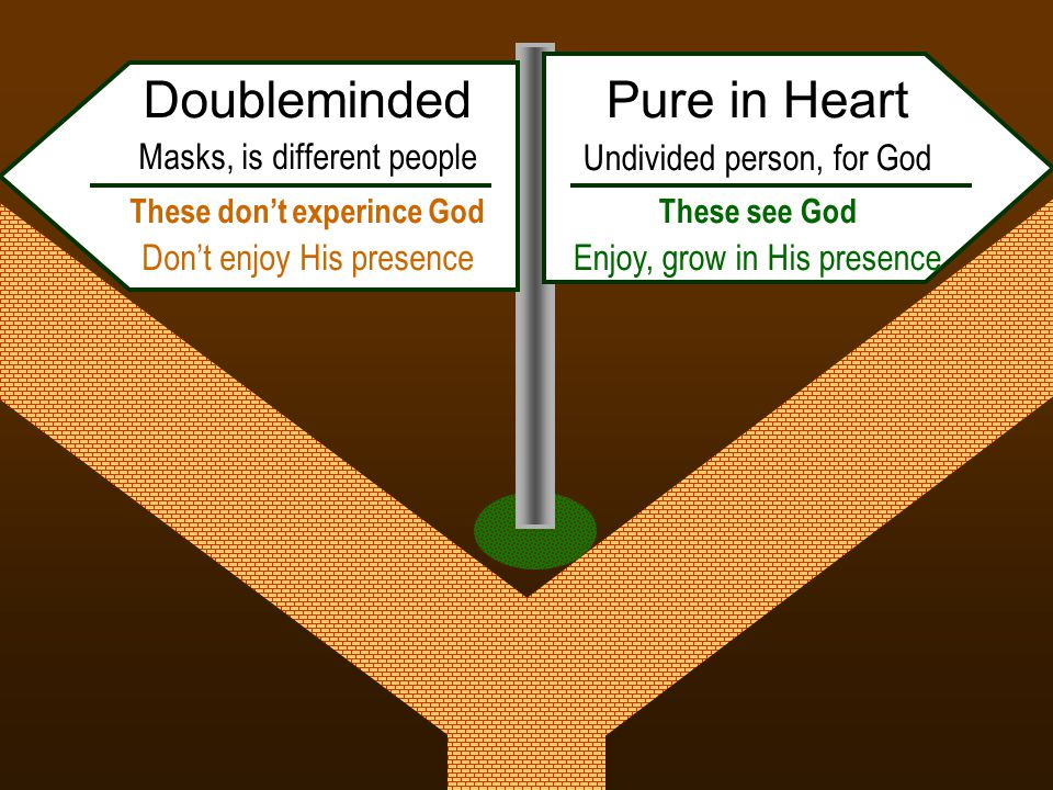 Pure in Heart Undivided person, for God These see God Enjoy, grow in His presence Doubleminded Masks, is different people These don't experince God Don't enjoy His presence
