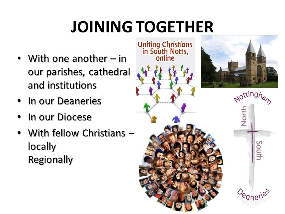 JOINING TOGETHER With one another – in our parishes, cathedral and institutions With one another – in our parishes, cathedral and institutions In our Deaneries In our Deaneries In our Diocese In our Diocese With fellow Christians – locally Regionally With fellow Christians – locally Regionally