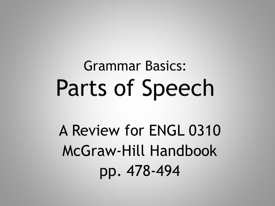 A Review for ENGL 0310 McGraw-Hill Handbook pp. 478-494