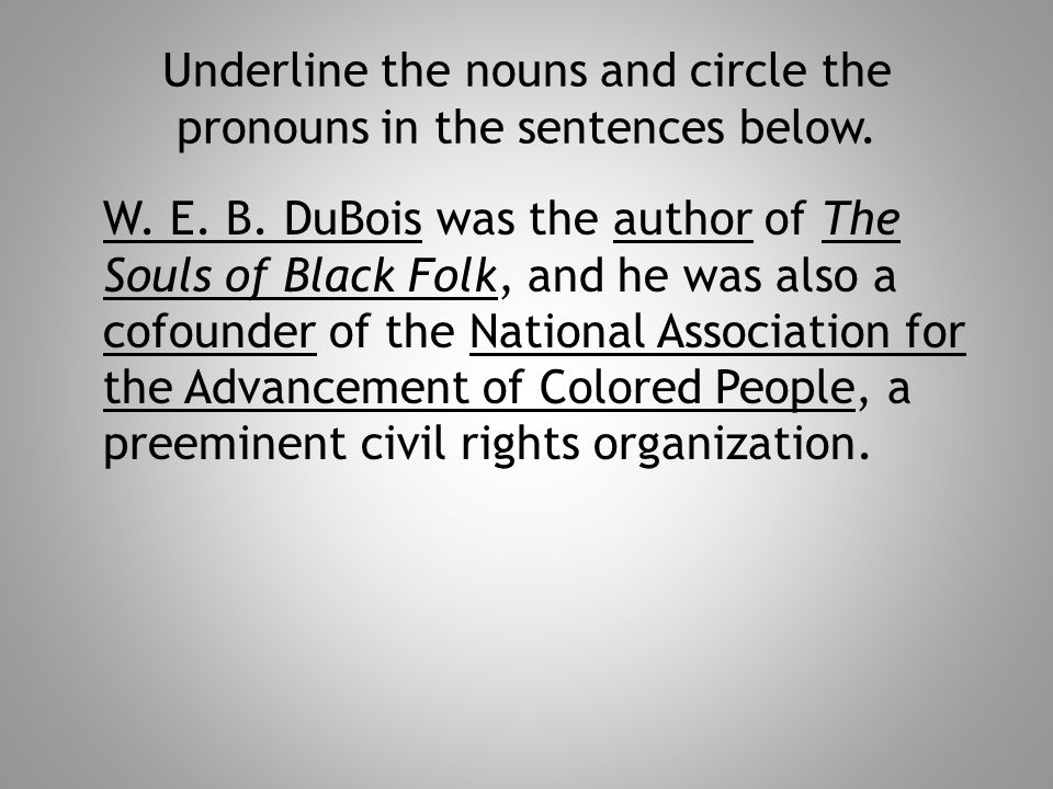 Underline the nouns and circle the pronouns in the sentences below. W. E. B. DuBois was the author of The Souls of Black Folk, and he was also a cofou