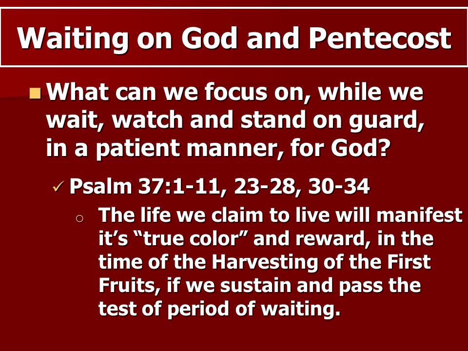 What can we focus on, while we wait, watch and stand on guard, in a patient manner, for God.