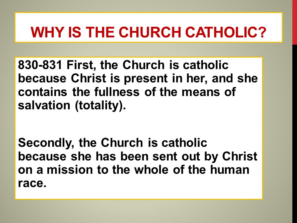 BIG 'C'/ LITTLE 'C' CATHOLIC Big 'C' Catholic refers to the Catholic Church that was founded by Christ Little 'c' catholic refers to the universality of the Church, containing the fullness of Christ and having a mission to all people