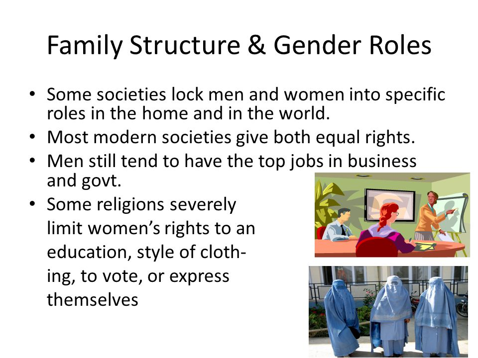 Family Structure & Gender Roles Some societies lock men and women into specific roles in the home and in the world.