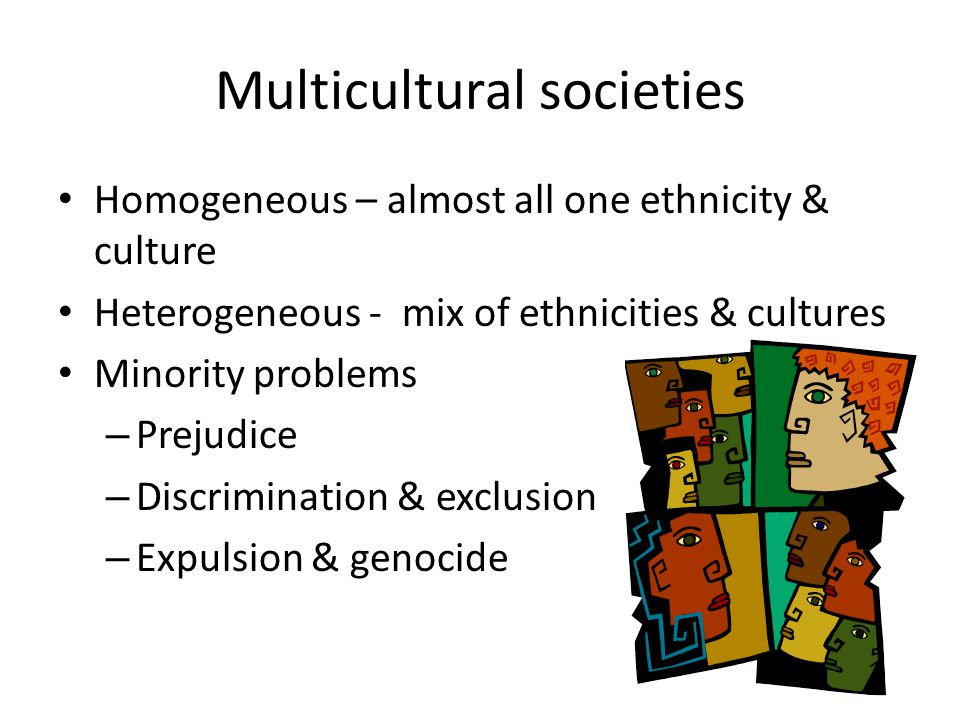 Multicultural societies Homogeneous – almost all one ethnicity & culture Heterogeneous - mix of ethnicities & cultures Minority problems – Prejudice – Discrimination & exclusion – Expulsion & genocide