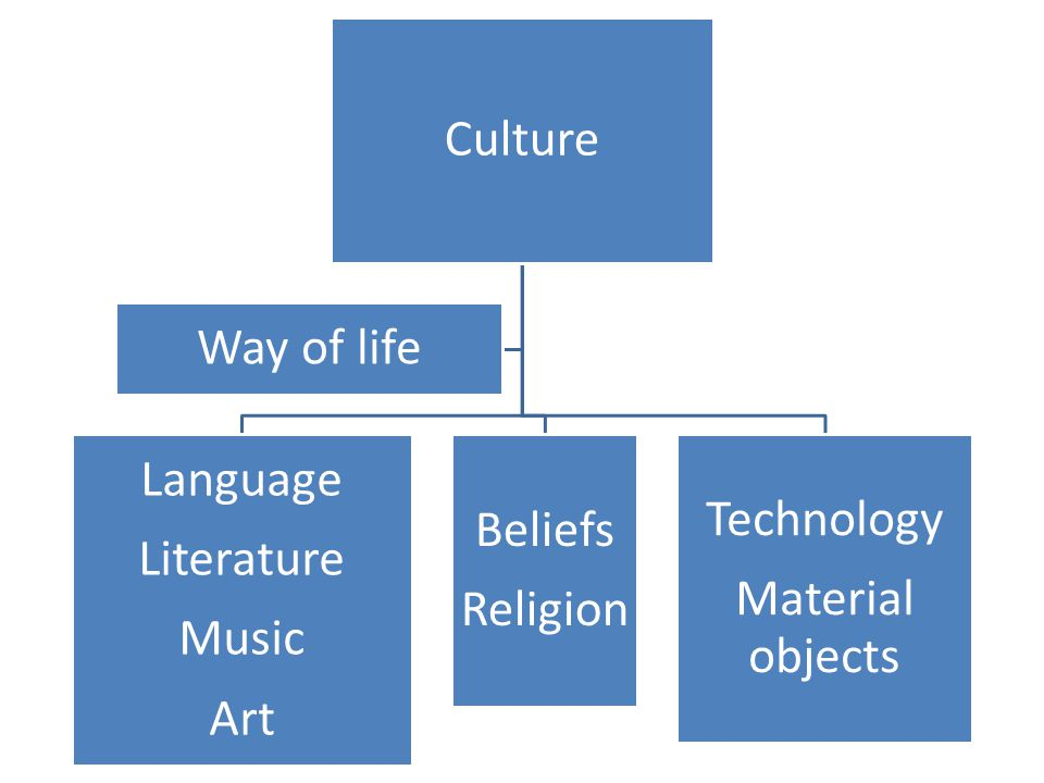 Culture Language Literature Music Art Beliefs Religion Technology Material objects Way of life