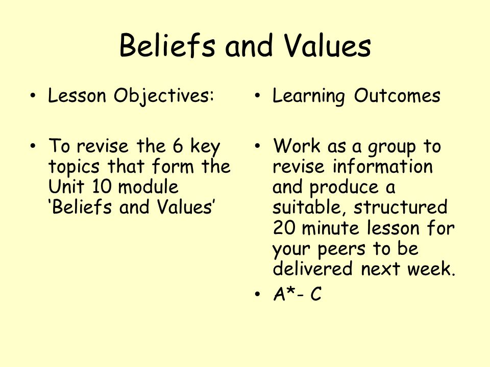 Beliefs and Values Lesson Objectives: To revise the 6 key topics that form the Unit 10 module 'Beliefs and Values' Learning Outcomes Work as a group to revise information and produce a suitable, structured 20 minute lesson for your peers to be delivered next week.