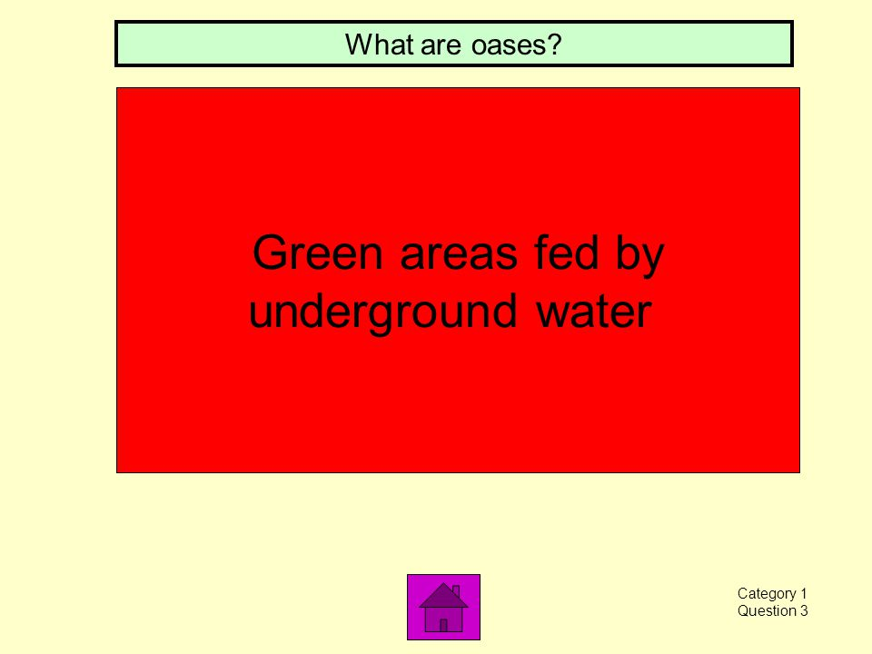 Green areas fed by underground water What are oases? Category 1 Question 3