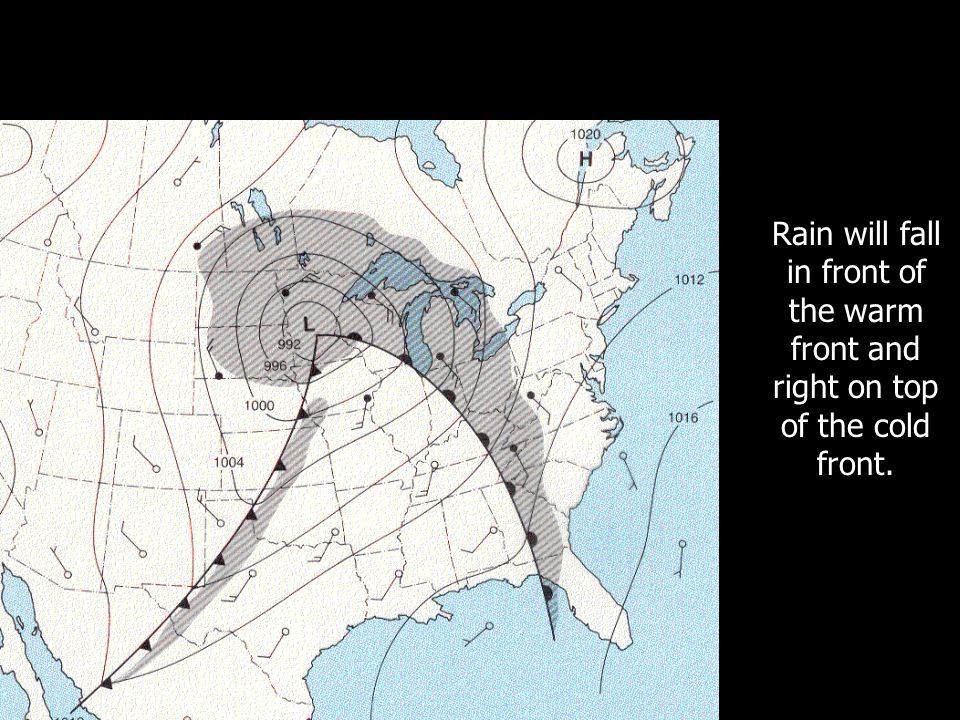 The Low continues to spin, creating a warm front and a cold front.