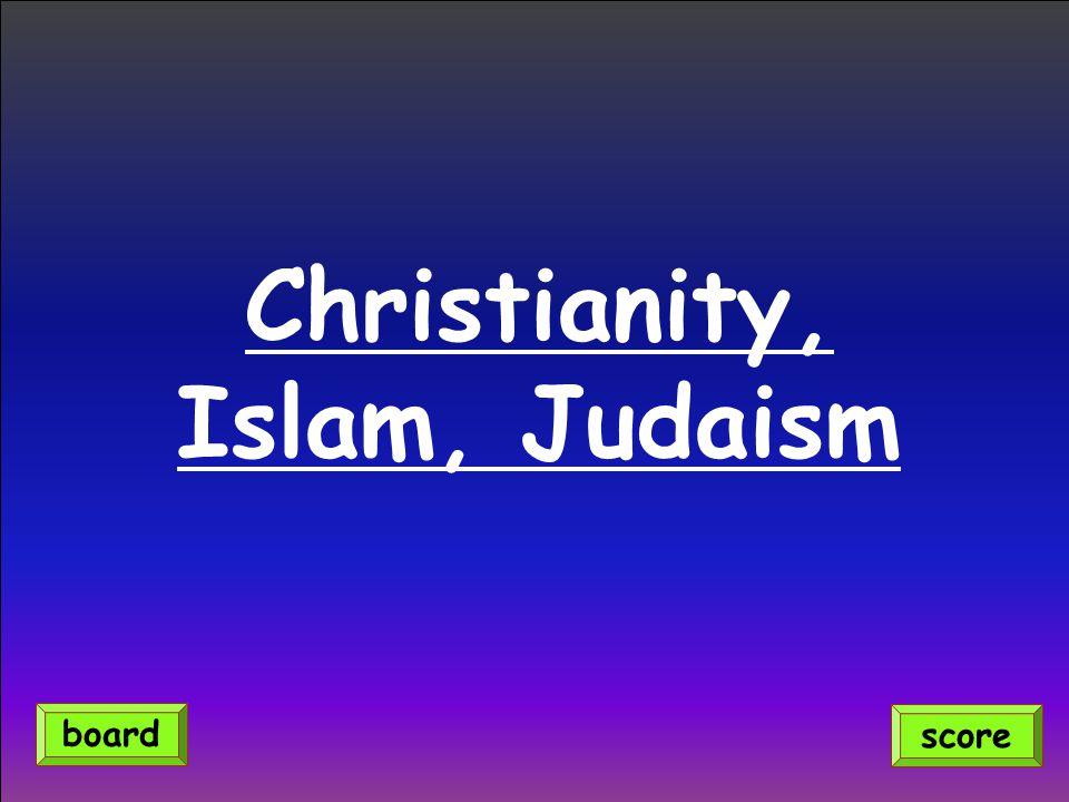 Christianity, Islam, Judaism score board