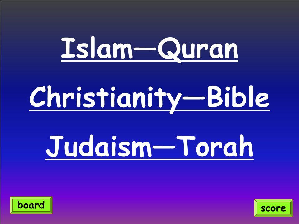 Islam—Quran Christianity—Bible Judaism—Torah score board