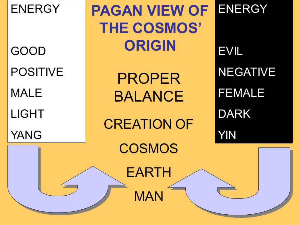 ENERGY GOOD POSITIVE MALE LIGHT YANG ENERGY EVIL NEGATIVE FEMALE DARK YIN PROPER BALANCE CREATION OF COSMOS EARTH MAN PAGAN VIEW OF THE COSMOS' ORIGIN