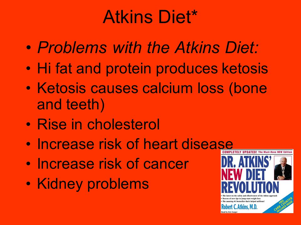Atkins Diet* Problems with the Atkins Diet: Hi fat and protein produces ketosis Ketosis causes calcium loss (bone and teeth) Rise in cholesterol Increase risk of heart disease Increase risk of cancer Kidney problems