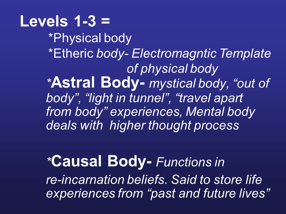 * Astral Body- mystical body, out of body , light in tunnel , travel apart from body experiences, Mental body deals with higher thought process * Causal Body- Functions in re-incarnation beliefs.