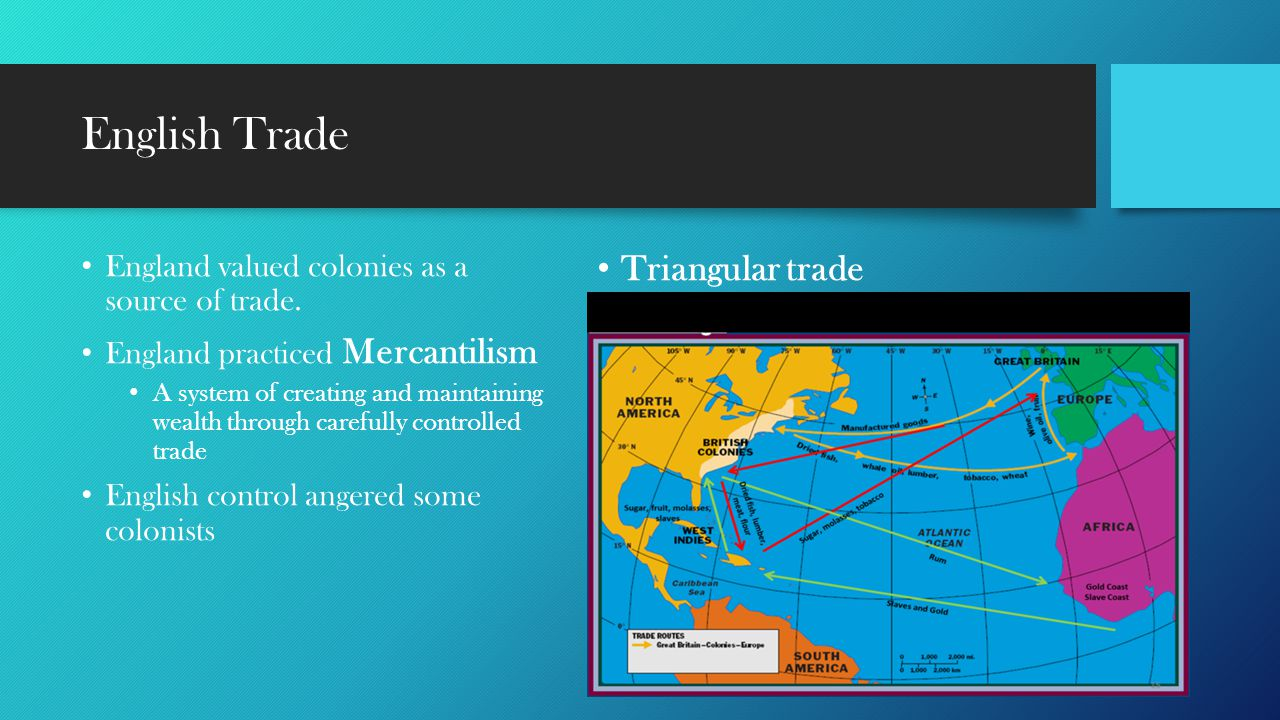 English Trade England valued colonies as a source of trade. England practiced Mercantilism A system of creating and maintaining wealth through careful
