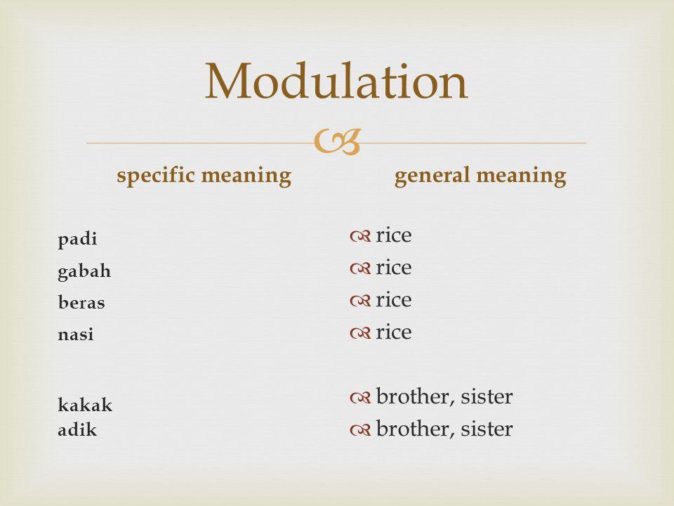  Modulation specific meaning padi gabah beras nasi kakak adik general meaning  rice  brother, sister