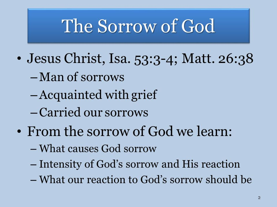 The Sorrow of God Jesus Christ, Isa. 53:3-4; Matt.
