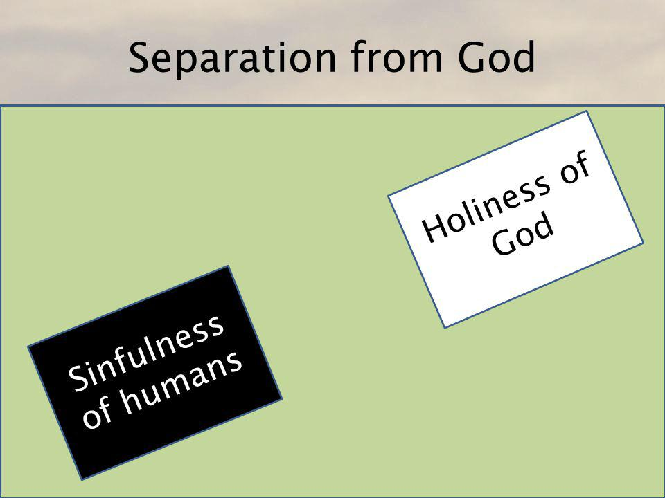 Jesus bridges the gap Sinfulness of humans Holiness of God