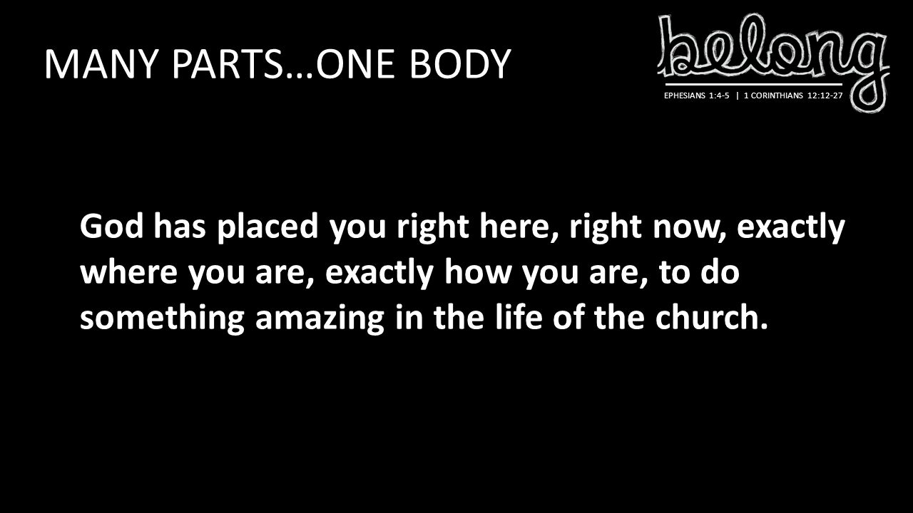 EPHESIANS 1:4-5 | 1 CORINTHIANS 12:12-27 MANY PARTS…ONE BODY God has placed you right here, right now, exactly where you are, exactly how you are, to do something amazing in the life of the church.